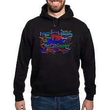 Music Cloud Dark Hooded Sweatshirt