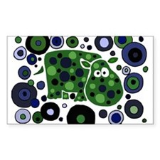 Funky Hippo Art and Circles Decal