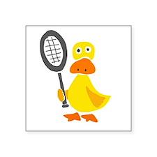Primitive Duck Playing Tennis Sticker