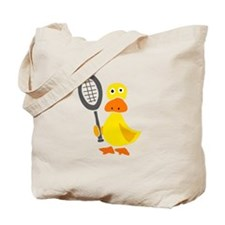 Primitive Duck Playing Tennis Tote Bag