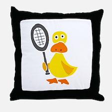 Primitive Duck Playing Tennis Throw Pillow