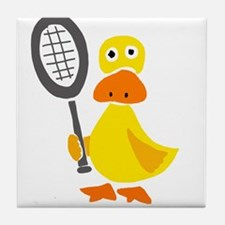 Primitive Duck Playing Tennis Tile Coaster