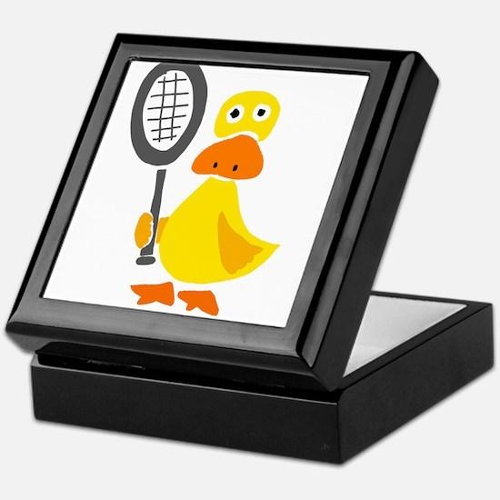 Primitive Duck Playing Tennis Keepsake Box