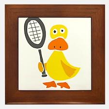 Primitive Duck Playing Tennis Framed Tile