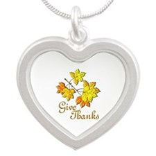Give Thanks Silver Heart Necklace
