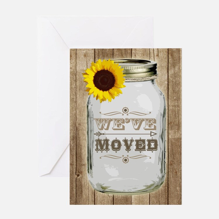Rustic Change Of Address Mason Jar Sunflower