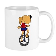 Yellow Labrador Dog Riding Unicycle Mug