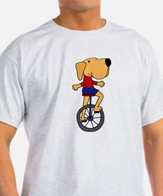 Yellow Labrador Dog Riding Unicycle T-Shirt