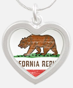 Vintage California Flag Silver Heart Necklace