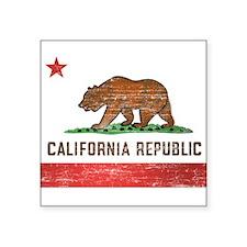 "Vintage California Flag Square Sticker 3"" x 3"""