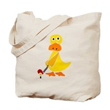 Primitive Duck Playing Golf Tote Bag