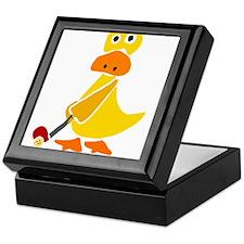 Primitive Duck Playing Golf Keepsake Box
