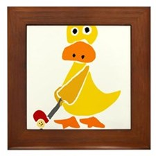 Primitive Duck Playing Golf Framed Tile