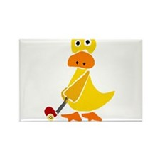 Primitive Duck Playing Golf Rectangle Magnet