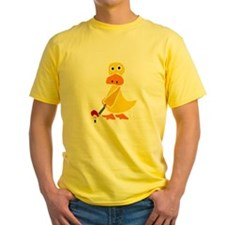 Primitive Duck Playing Golf T-Shirt