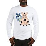 Cute Pink Pig Blue Flowers Long Sleeve T-Shirt