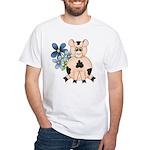 Cute Pink Pig Blue Flowers T-Shirt