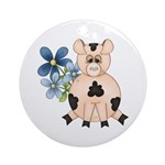 Cute Pink Pig Blue Flowers Ornament (Round)