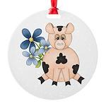 Cute Pink Pig Blue Flowers Ornament
