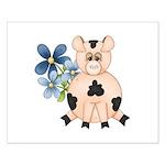 Cute Pink Pig Blue Flowers Posters