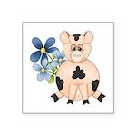 Cute Pink Pig Blue Flowers Sticker