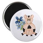 Cute Pink Pig Blue Flowers Magnet