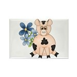 Cute Pink Pig Blue Flowers Rectangle Magnet (100 p