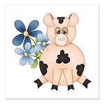 Cute Pink Pig Blue Flowers Square Car Magnet 3