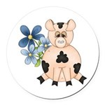 Cute Pink Pig Blue Flowers Round Car Magnet