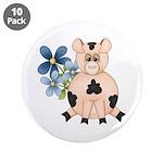 Cute Pink Pig Blue Flowers 3.5