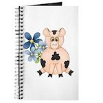 Cute Pink Pig Blue Flowers Journal