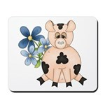 Cute Pink Pig Blue Flowers Mousepad