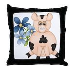 Cute Pink Pig Blue Flowers Throw Pillow