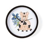 Cute Pink Pig Blue Flowers Wall Clock