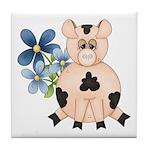 Cute Pink Pig Blue Flowers Tile Coaster