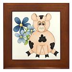 Cute Pink Pig Blue Flowers Framed Tile