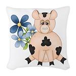 Cute Pink Pig Blue Flowers Woven Throw Pillow