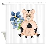 Cute Pink Pig Blue Flowers Shower Curtain