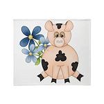 Cute Pink Pig Blue Flowers Throw Blanket