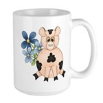 Cute Pink Pig Blue Flowers Mug
