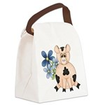 Cute Pink Pig Blue Flowers Canvas Lunch Bag