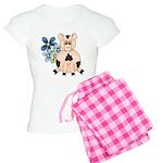 Cute Pink Pig Blue Flowers Pajamas
