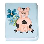 Cute Pink Pig Blue Flowers baby blanket