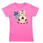 Cute Pink Pig Blue Flowers Girl's Tee