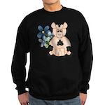 Cute Pink Pig Blue Flowers Sweatshirt