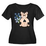 Cute Pink Pig Blue Flowers Plus Size T-Shirt