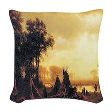 Yosemite Indian Encampment Woven Throw Pillow