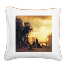 Yosemite Indian Encampment Square Canvas Pillow