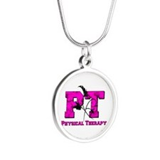 PT camo pink Silver Round Necklace