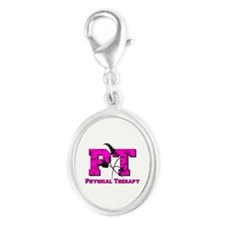 PT camo pink Silver Oval Charm